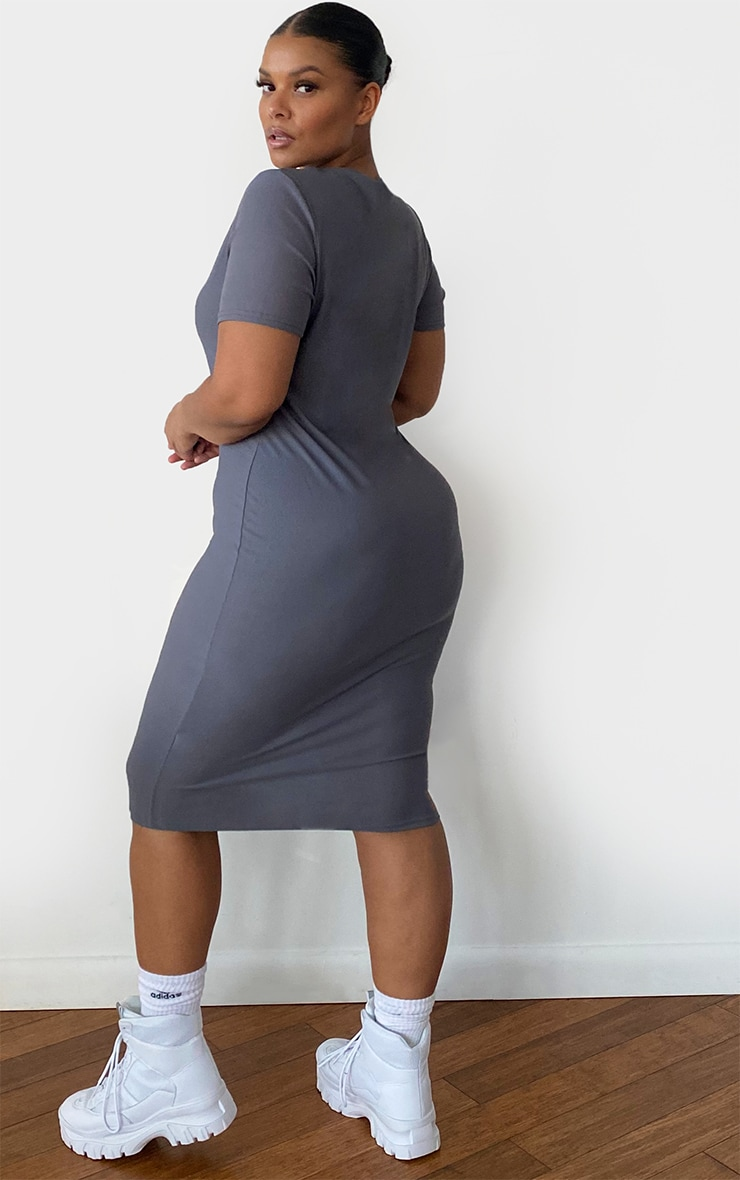 Plus Charcoal Grey Cap Sleeve Midi Dress 2