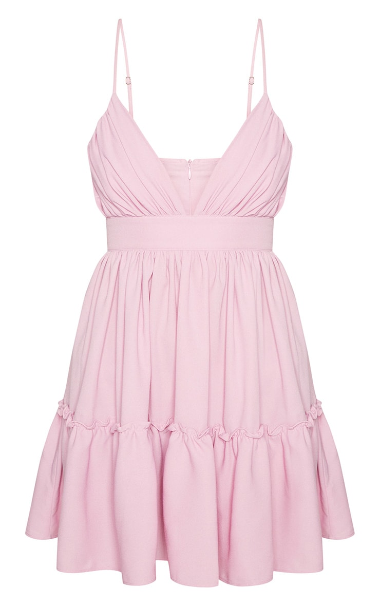 Lilac Ruched Frill Detail Strappy Skater Dress 3