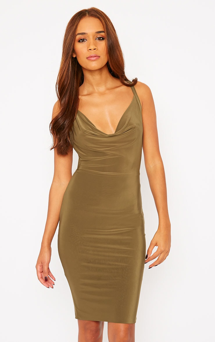 Orion Khaki Slinky Cowl Neck Dress 1