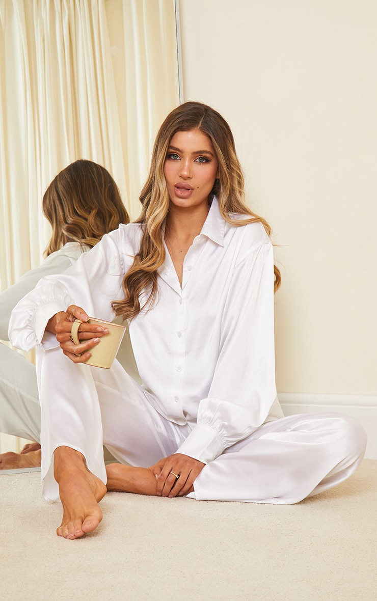 Ivory Oversized Long Satin Pj Set 1