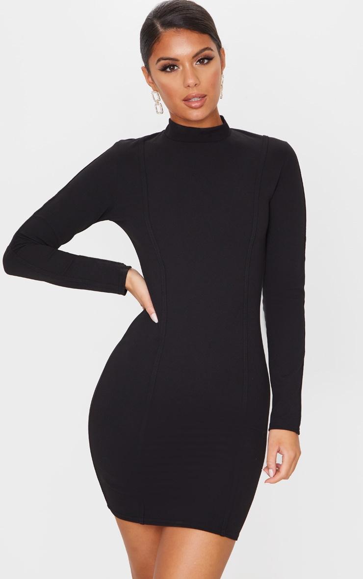 Black High Neck Long Sleeve Binding Detail Bodycon Dress 1