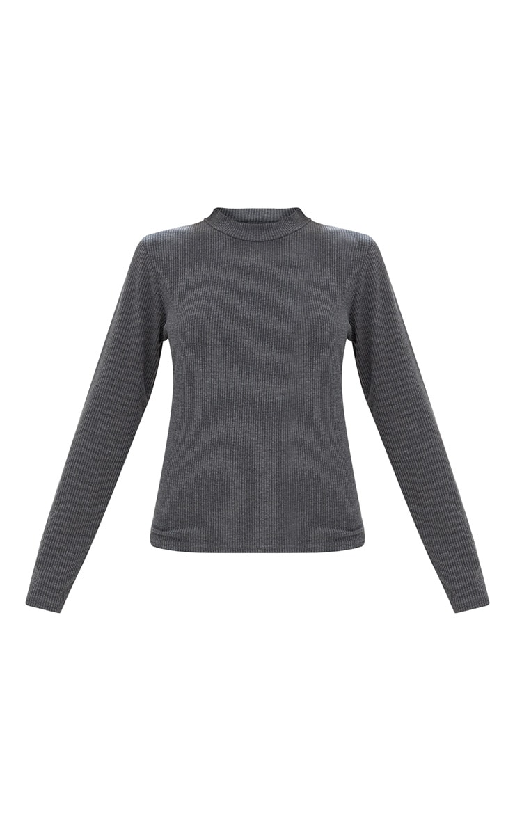 Grey Ribbed High Neck Longsleeve Top 3