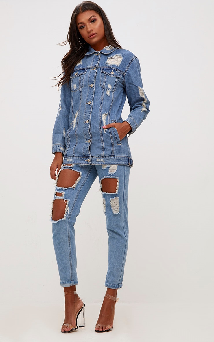 Mid Wash Distressed Long Line Denim Jacket 4