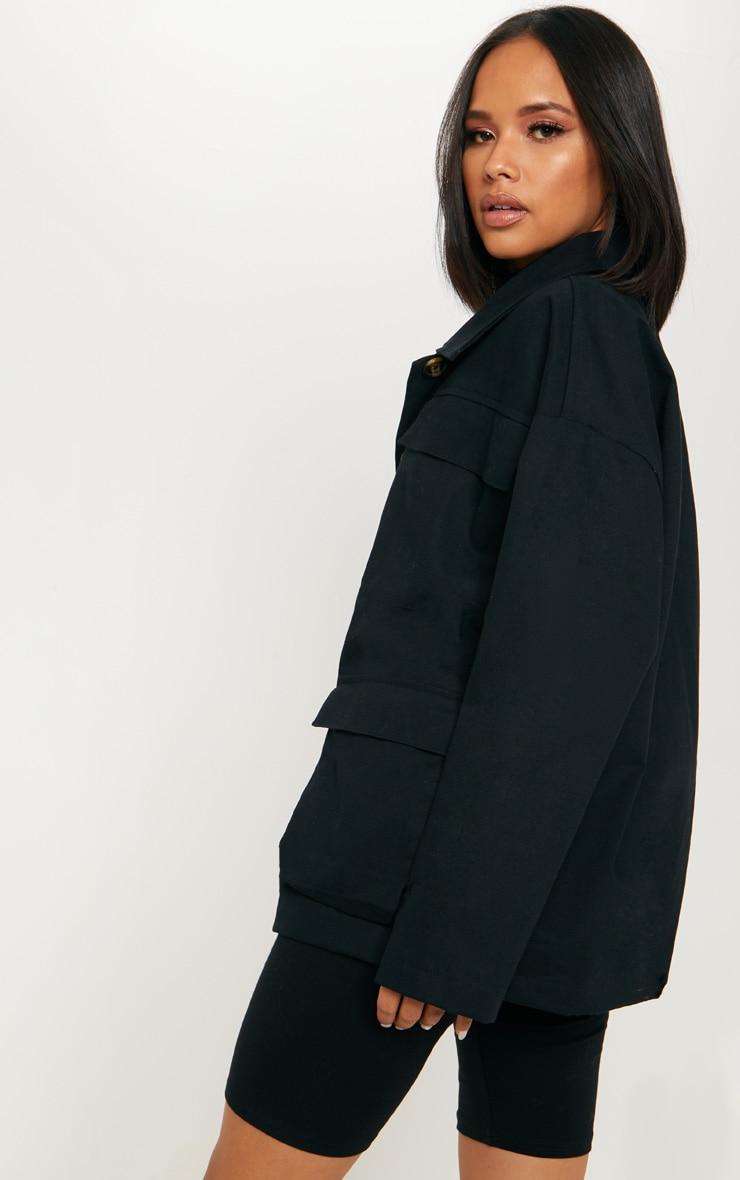 Black Woven Utility Jacket  2