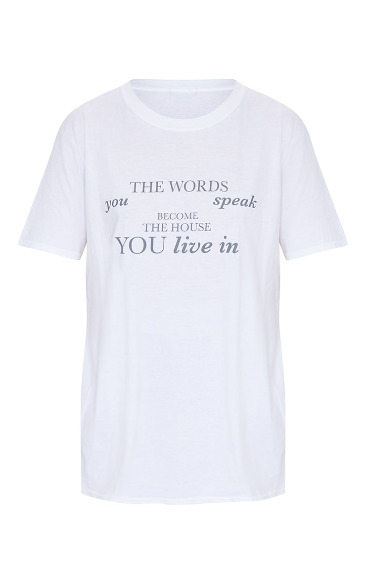 White Words You Speak Printed T Shirt 5
