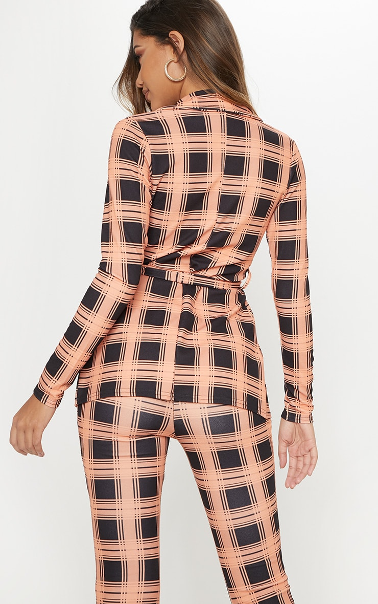 Orange Checked Belted Blazer  2