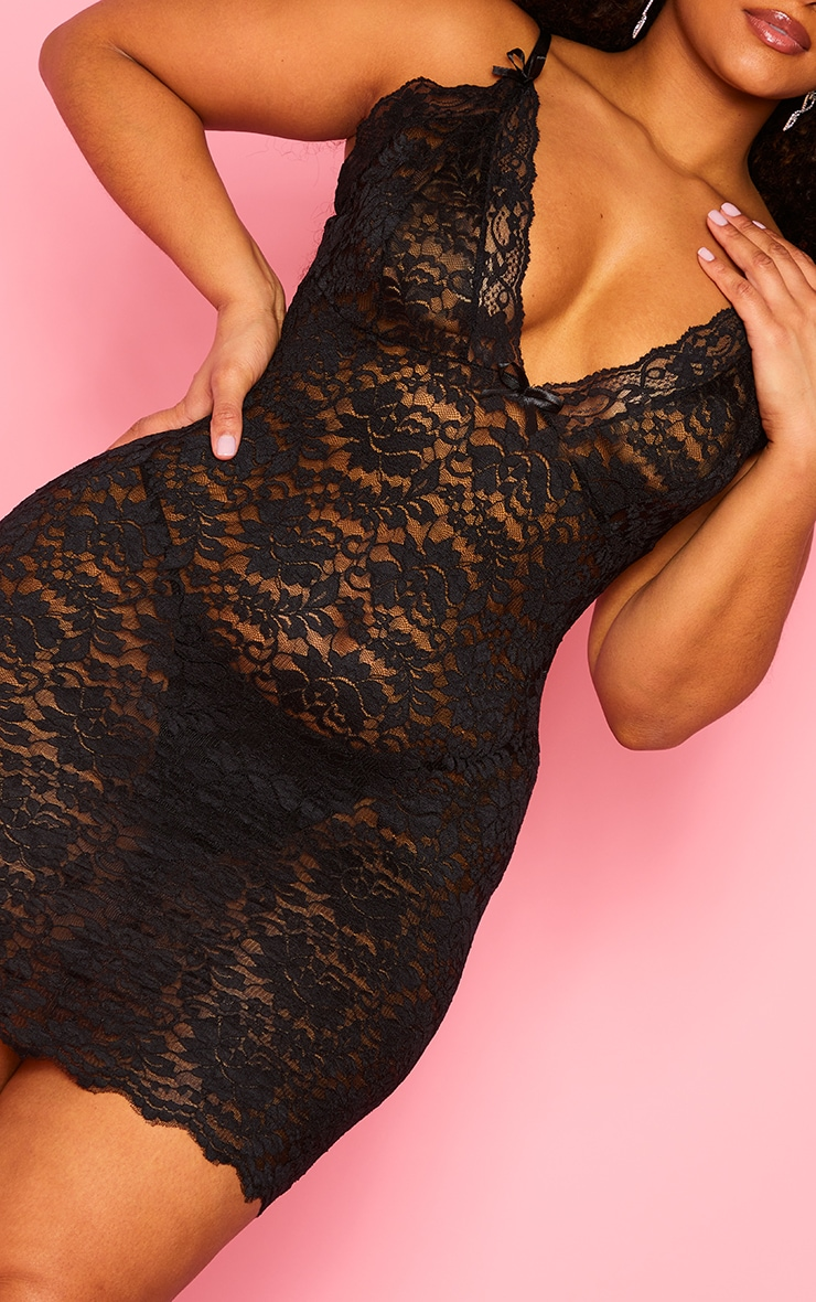 Plus Black Lace Bow Detail Slip Nightie 4