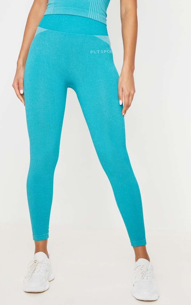 PRETTYLITTLETHING Turquoise Sport Seamless Contour Cropped Leggings 3