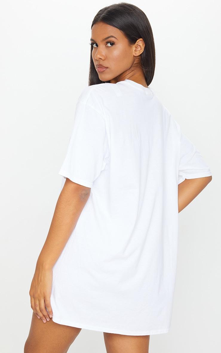 PRETTYLITTLETHING Grey & White 2 Pack Slogan T Shirt Dresses 2