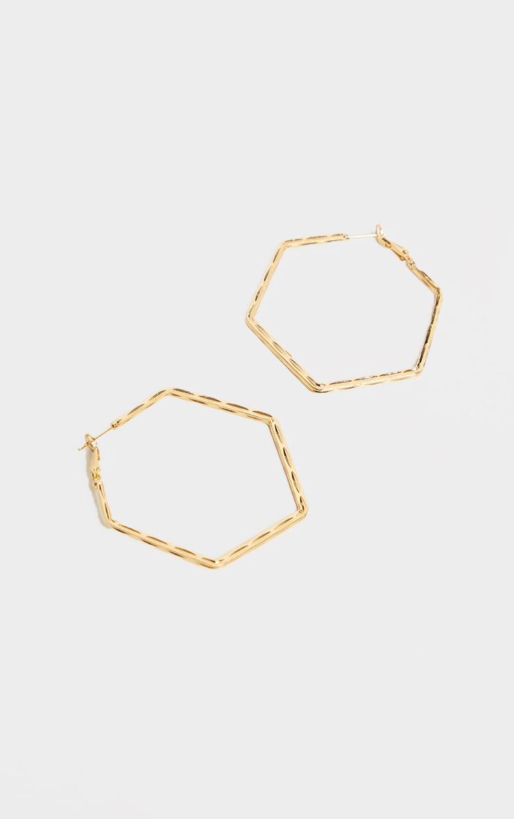 Gold Textured Hexagon Earrings 2