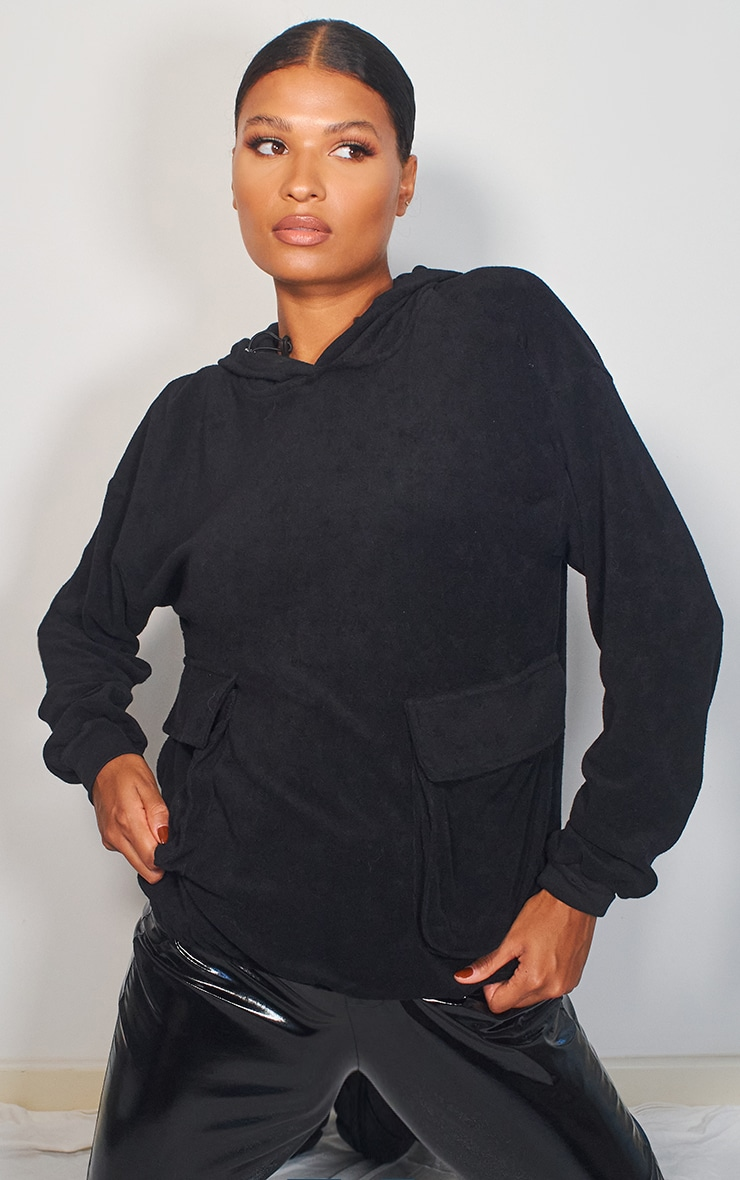 Black Towelling Oversized Pocket Sweatshirt 1