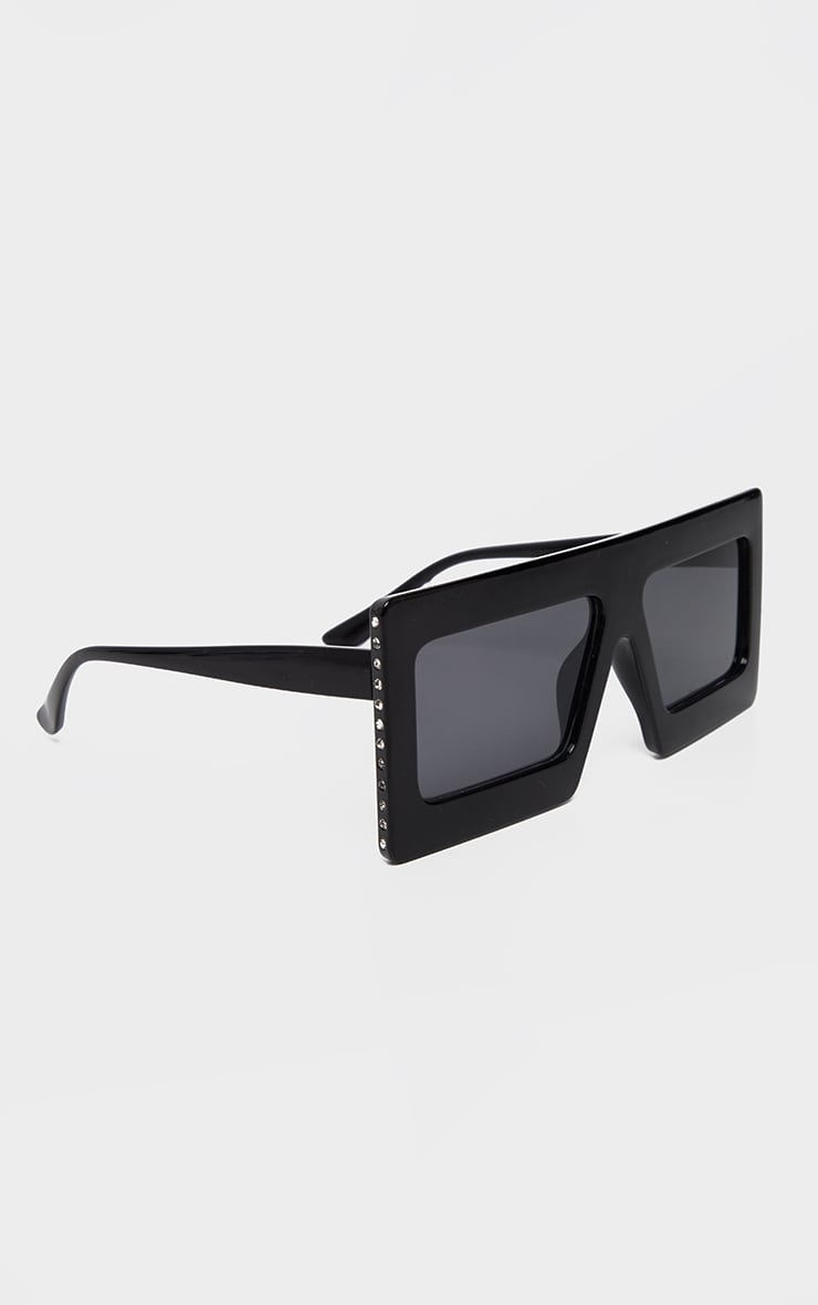 Black Thick Frame Diamante Edge Sunglasses 3