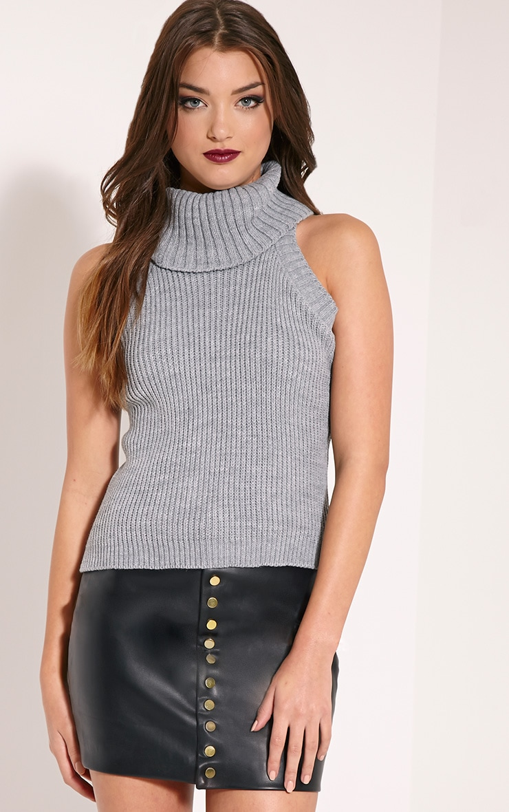 Rosanna Grey Roll Neck Sleeveless Jumper 1