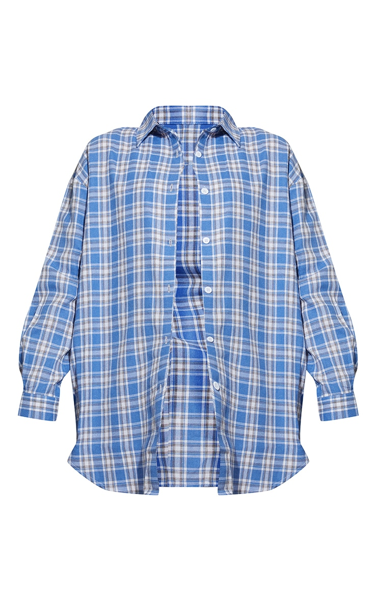 PRETTYLITTLETHING Maternity Blue Oversized Check Shirt 5