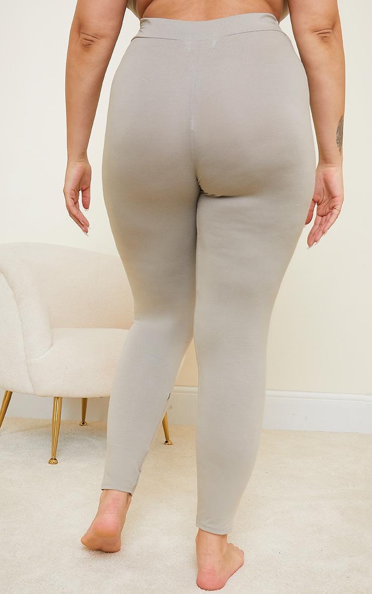 Plus Khaki Cotton High Waist Legging 3