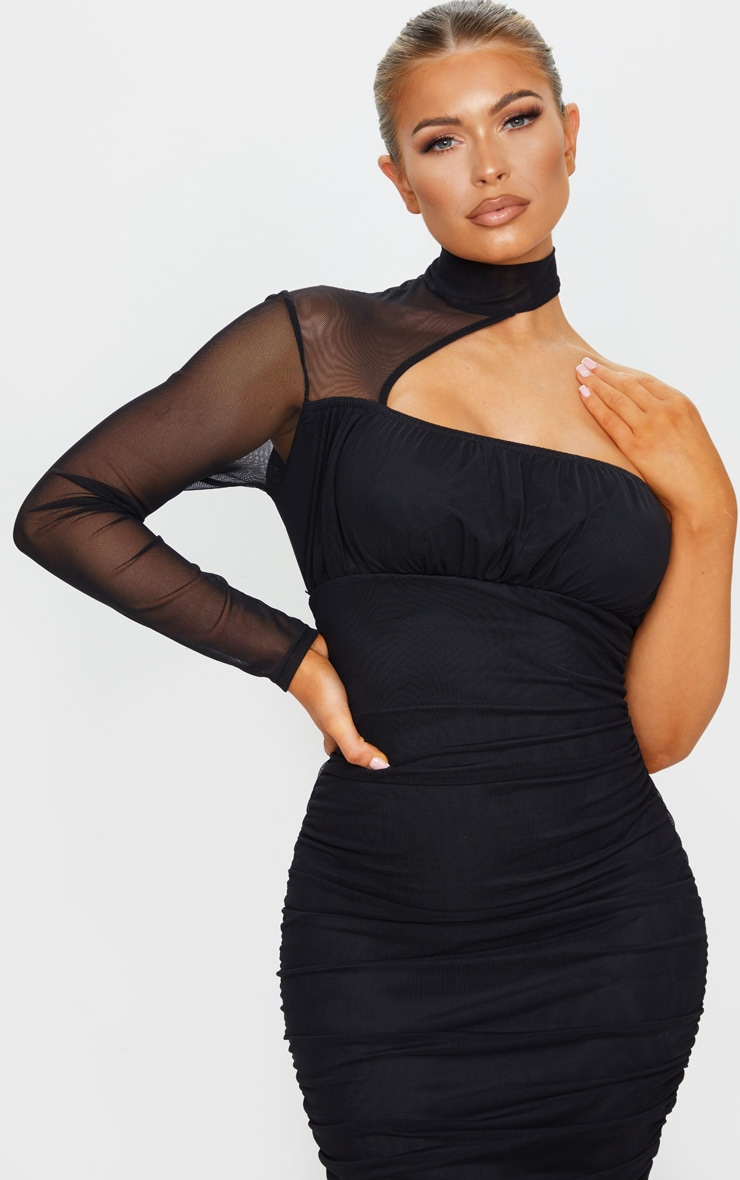 Black Mesh High Neck One Shoulder Midi Dress 4