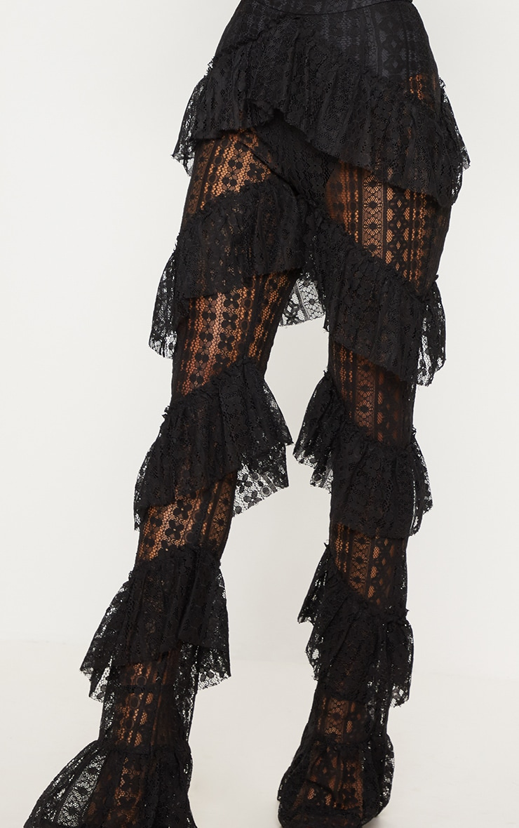 Black Tiered Lace Flare Trouser 5