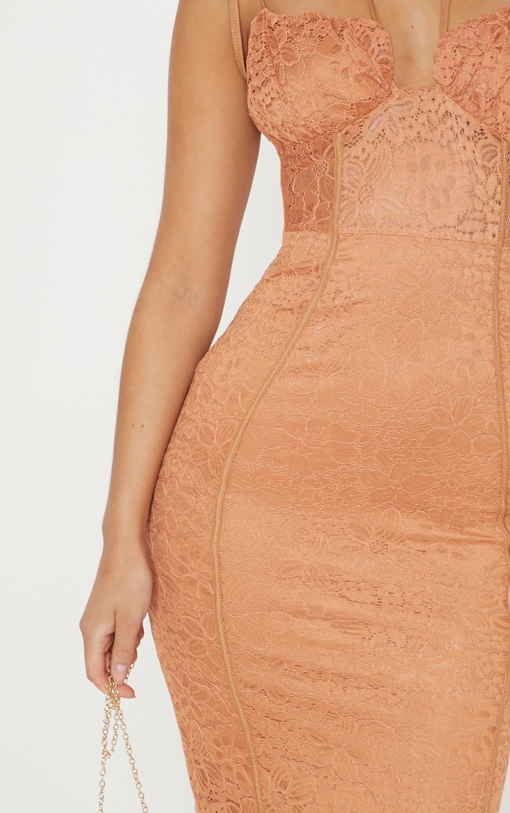 Tan Lace Ruched Top Midi Dress 5