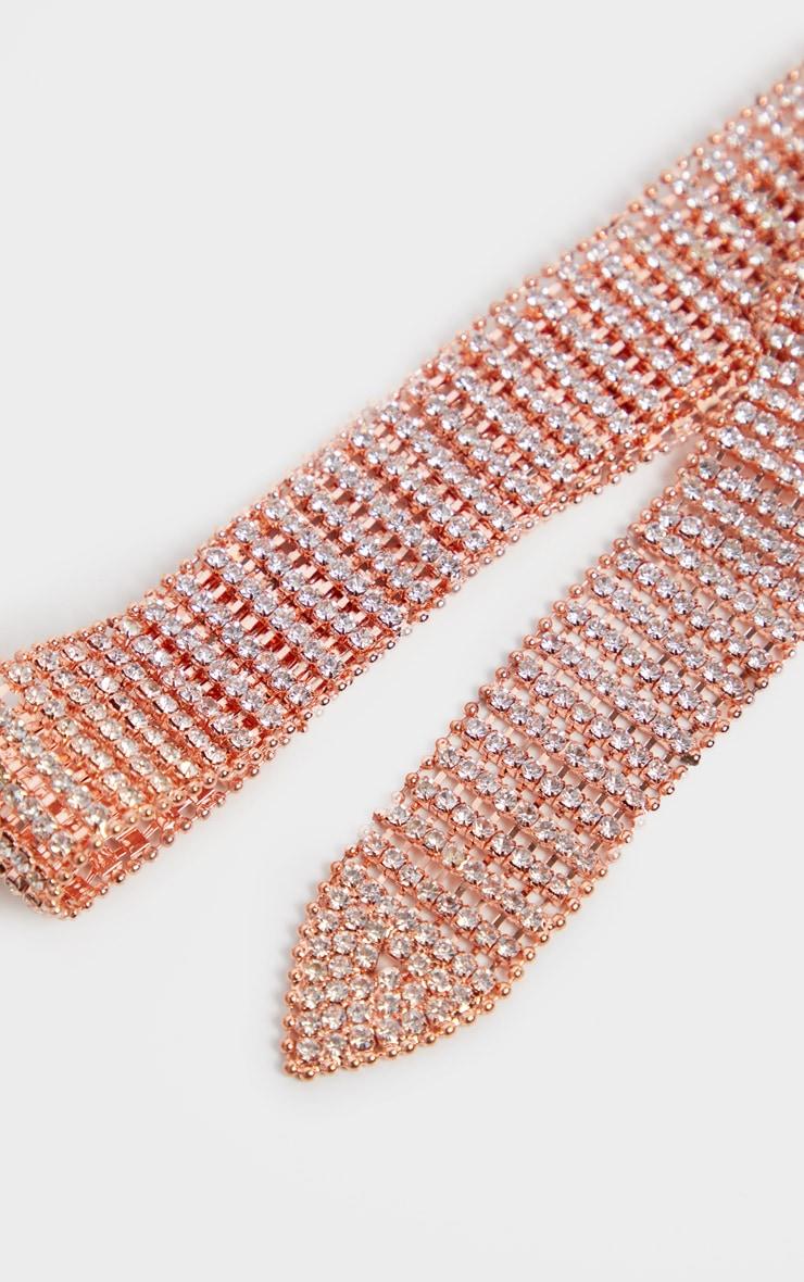 Rose Gold Diamante Chain Link Belt 3