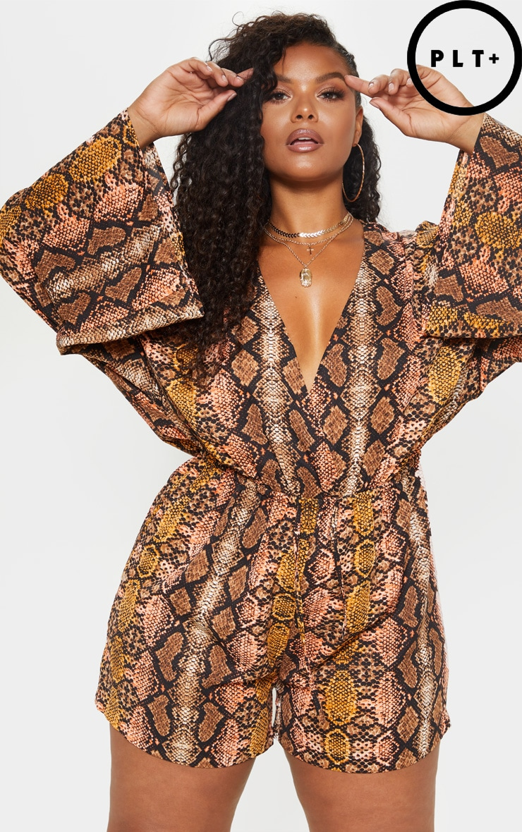 Plus Snake Print Flare Sleeve Playsuit 2