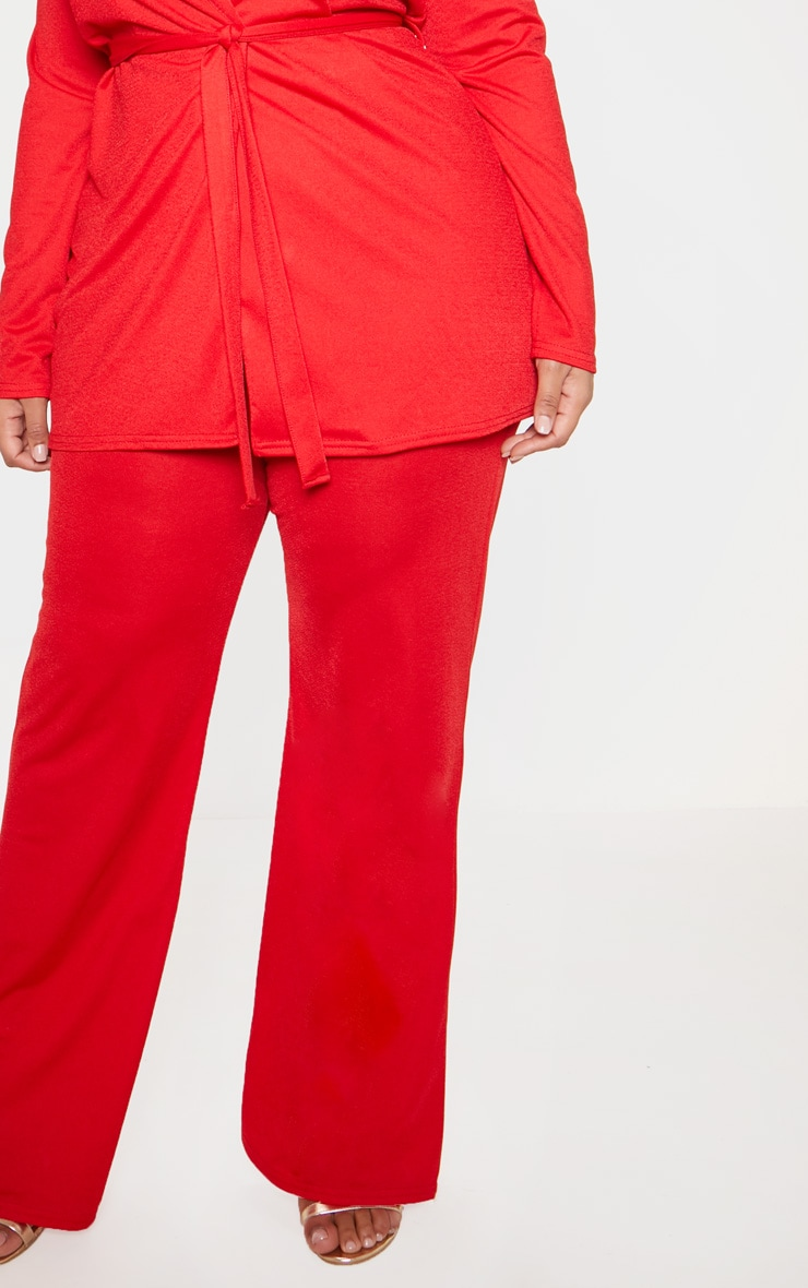 Plus Red Wide Leg Trouser  5