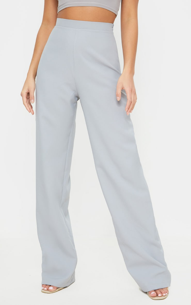 Petite Soft Grey Wide Leg Suit Pants 2