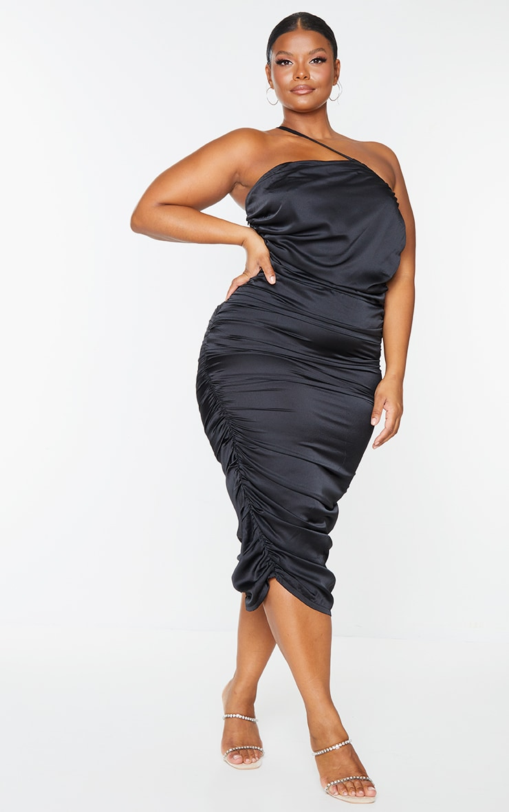 Plus Black Satin One Shoulder Midi Dress 3