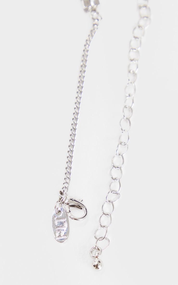 Silver Diamante Double Row Chain Drop Choker 4