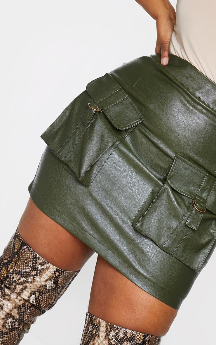 Plus Khaki Faux Leather Buckle Detail Bodycon Skirt 5