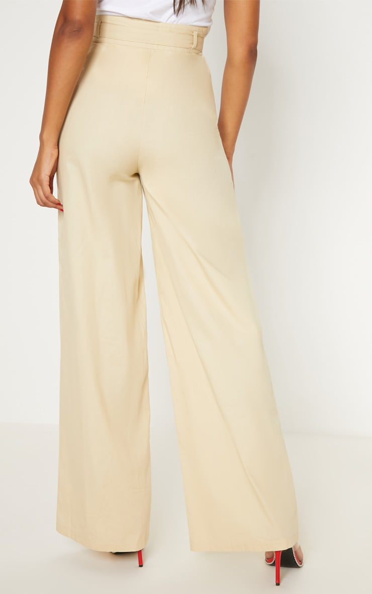 Cream Belted Waist Wide Leg Trouser 4