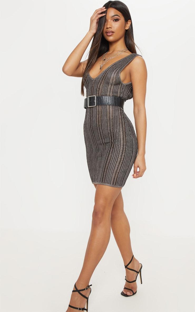 Black Striped Metallic Knitted Dress  4