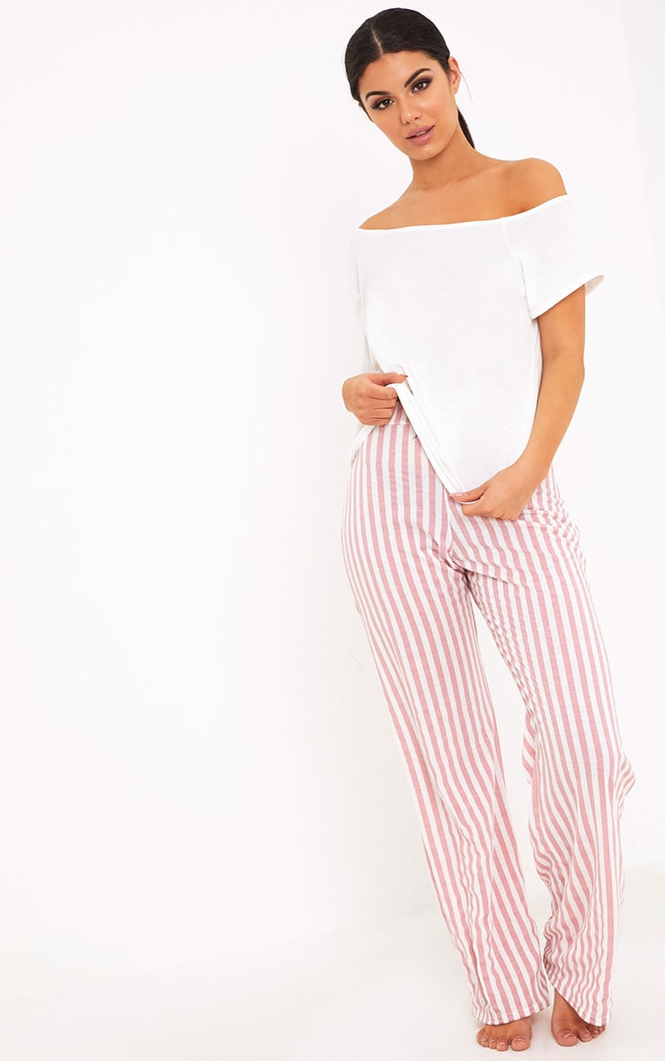 Aviva White Off The Shoulder Top & Bottoms PJ Set 1