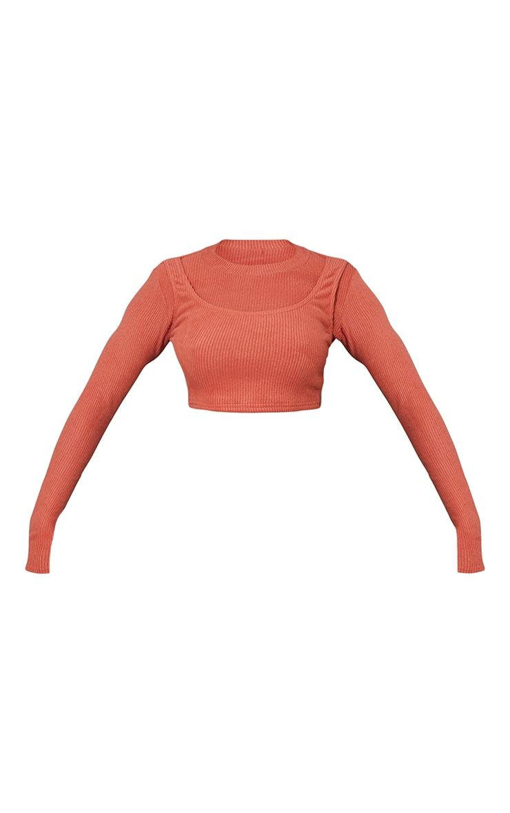 Terracotta Brushed Rib Overlay Long Sleeve Crop Top 5