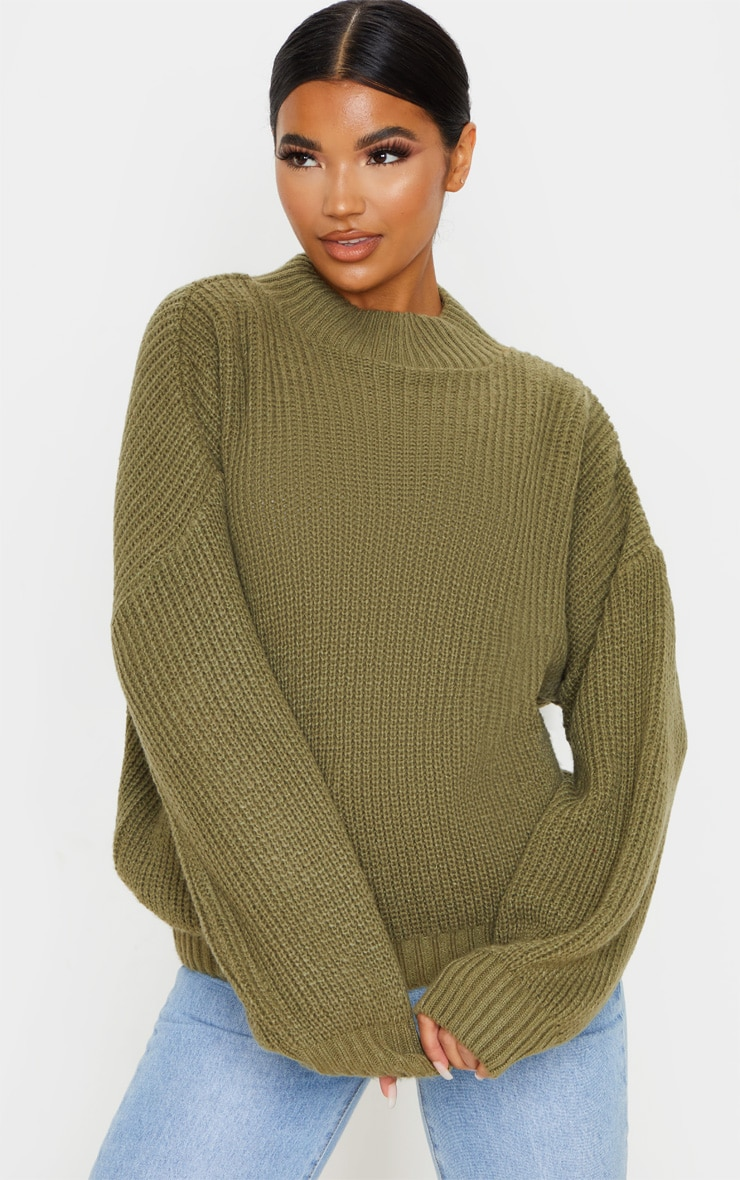 Khaki Balloon Sleeve Fluffy Sweater 1