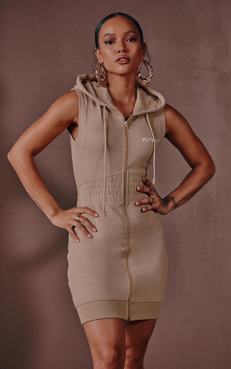 Mocha Sleeveless Zip Up Sweat Dress 1