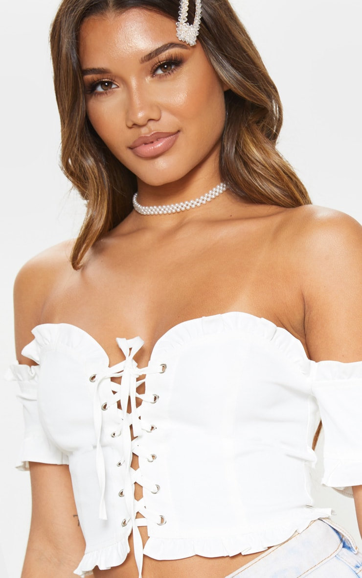 White Bardot Lace Up Denim Crop Top 5
