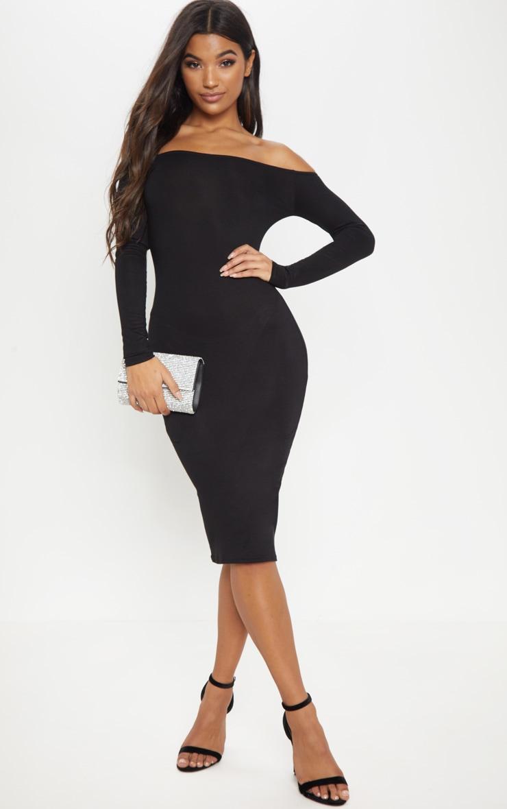 Basic robe midi bardot en jersey noire 1