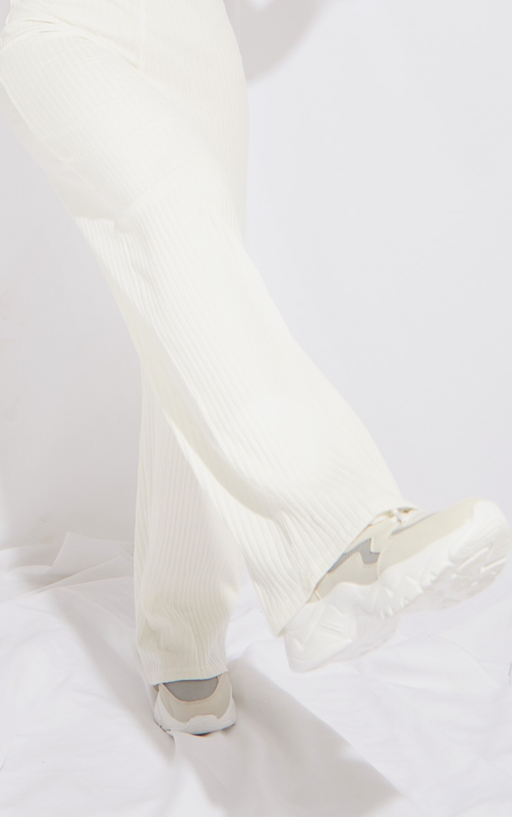 Cream Premium Ribbed Wide Leg Pants 4