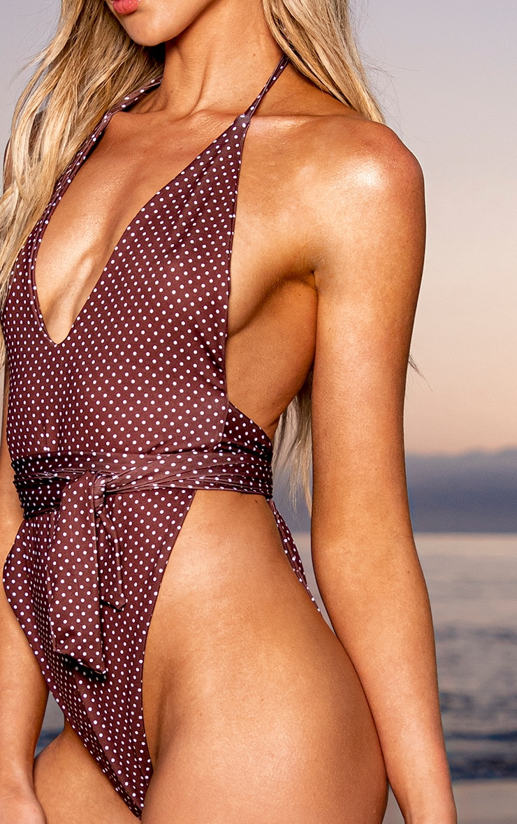 Chocolate Brown Polka Dot Plunge Swimsuit 4