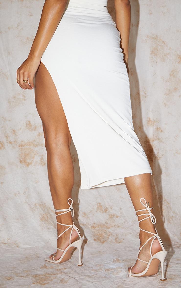 Recycled Cream Contour Jersey Curved Hem Midaxi Skirt 3
