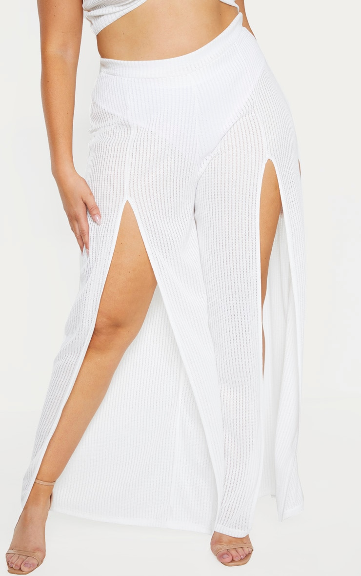 Plus White Textured Split Detail Wide Leg Pant 2