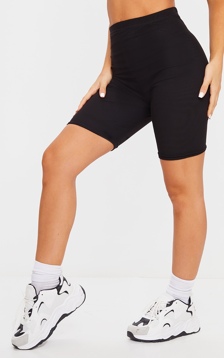 Black Mesh Layered Bike Shorts 2