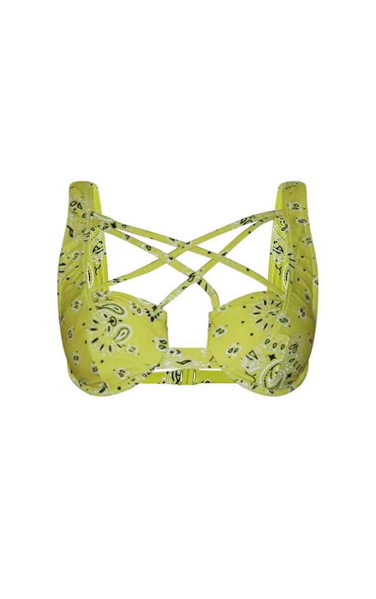 Yellow Bandana Print Underwired Strappy Bikini Top 5