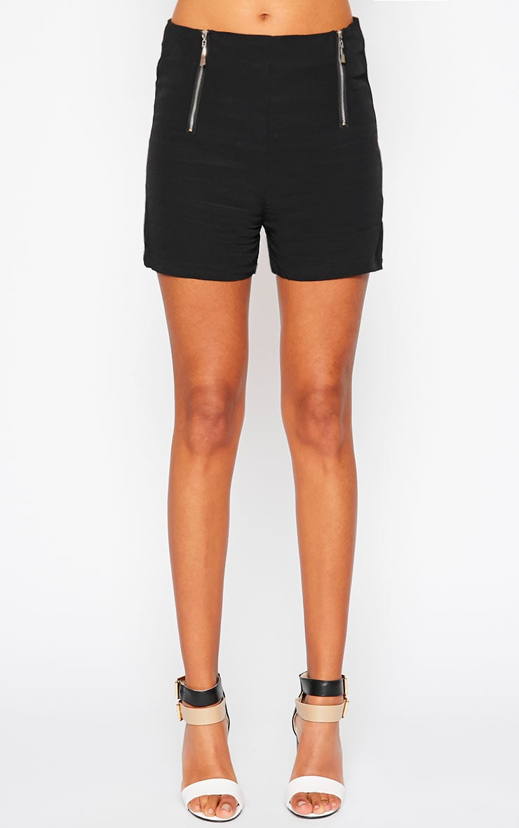 Mikkel Black Zip Front Shorts 3
