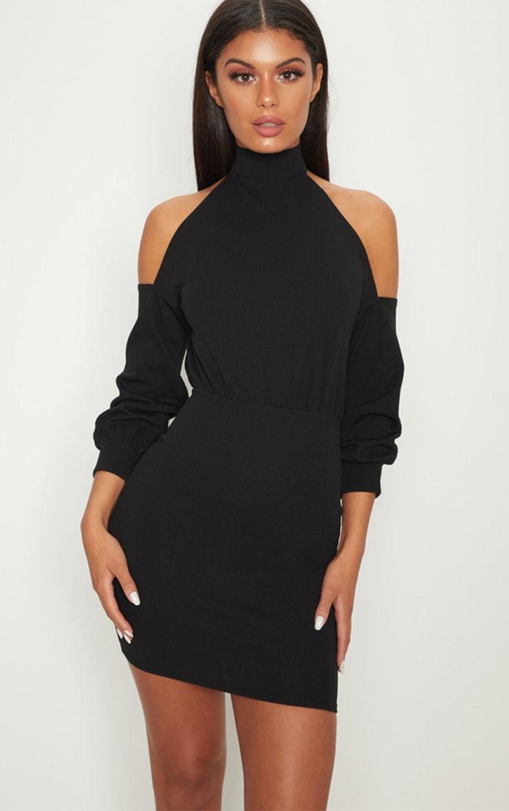 BLACK HIGH NECK COLD SHOULDER BODYCON DRESS
