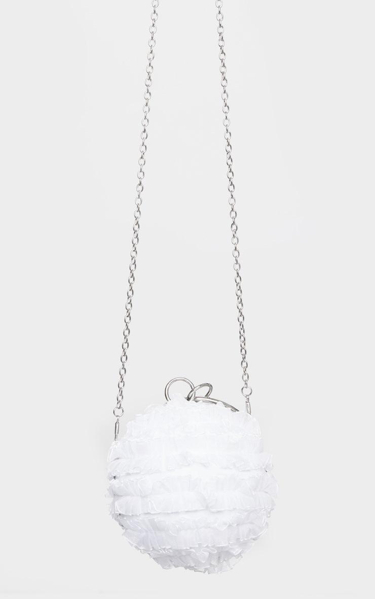White Ruffle Sphere Clutch 3
