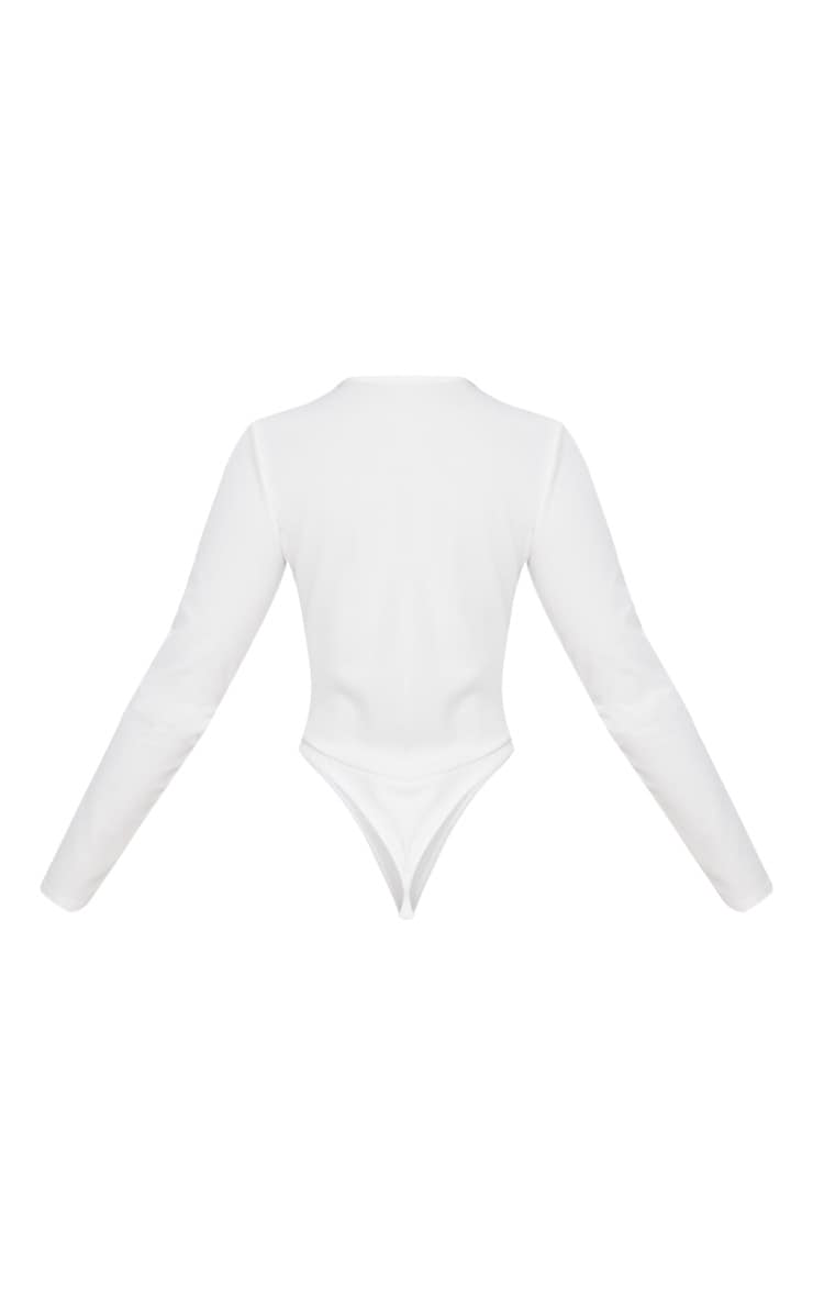 White Lace Up Long Sleeve Thong Bodysuit 4