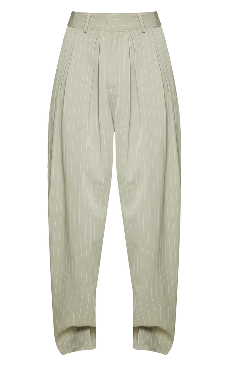 Sage Green Pinstripe Woven High Waisted Cigarette Pants 5