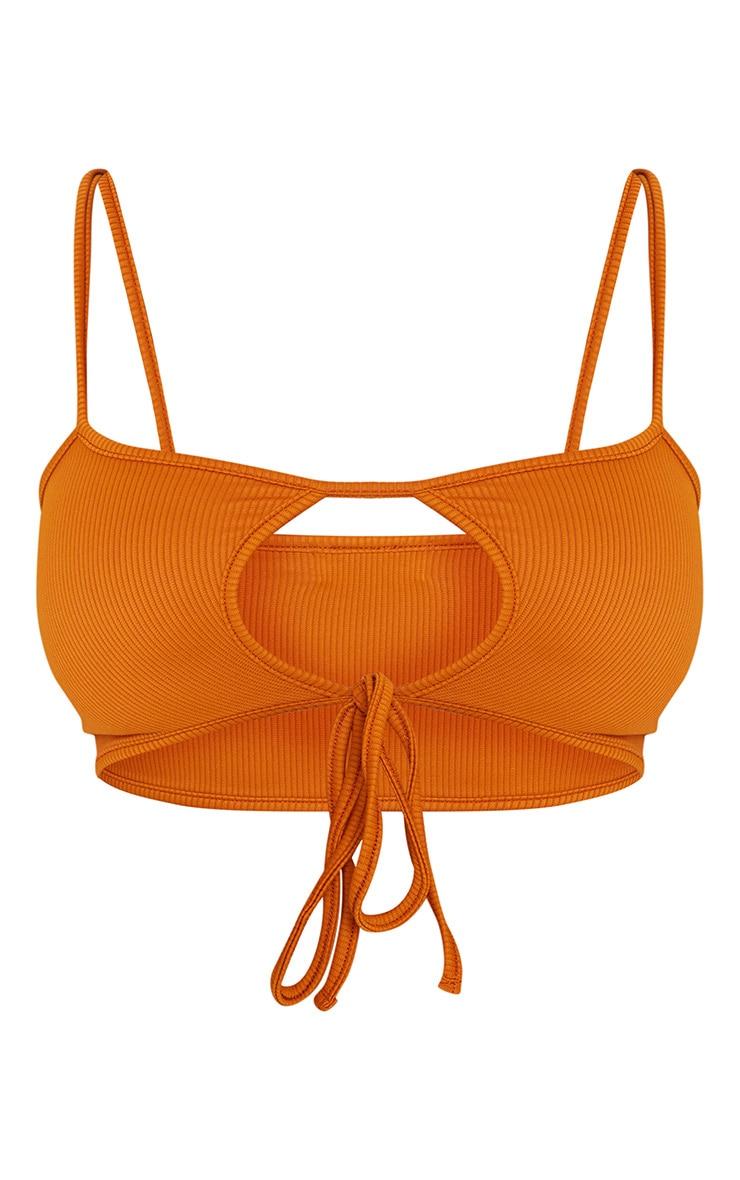 Rust Mix & Match Ribbed Tie Front Bikini Top 3