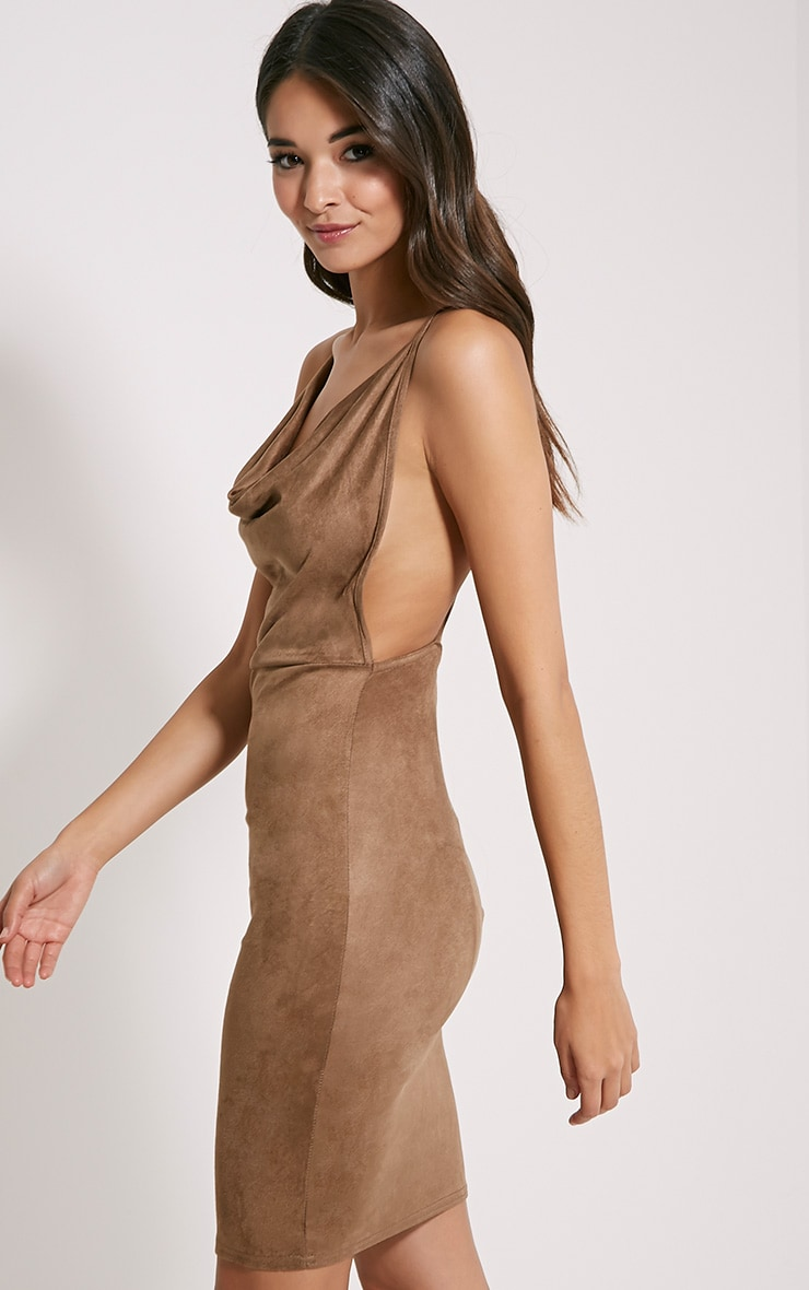 Orion Tan Faux Suede Dress 4